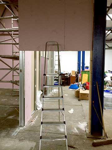 stepladder painting setup