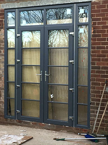 The first of our six windows French doors