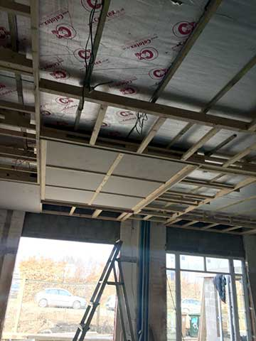insulation installed finishing entrance celling